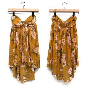 Free People Yellow High Low Floral Tunic - Size S